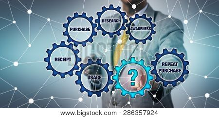 Corporate Marketer Touching Question Mark Cog Wheel In Virtual Gear Train Showing Customer Buying Cy