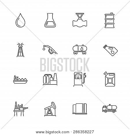 Oil Industry Outline Icons Set - Black Symbol On White Background. Oil Industry Simple Illustration