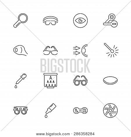 Eye Care And Optometry Outline Icons Set - Black Symbol On White Background. Eye Care And Optometry