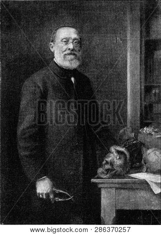 Rodolphe Virchow, vintage engraved illustration. From the Universe and Humanity, 1910.