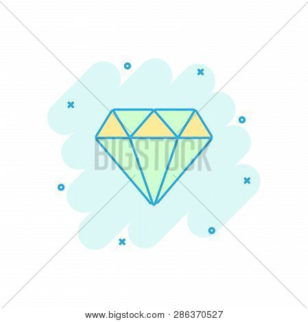 Vector Cartoon Diamond Jewel Gem Icon In Comic Style. Diamond Gemstone Illustration Pictogram. Jewel