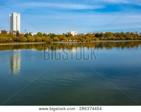 Big Pond In Victory Park In Autumn In Zelenograd Of Moscow, Russia