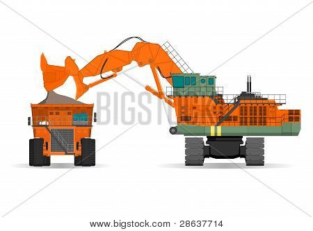 giant excavator and ridig dump truck in a surface mine