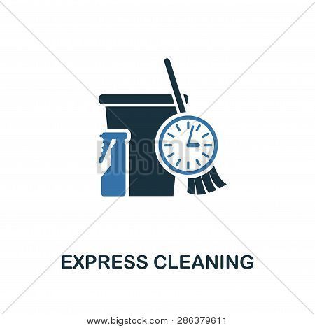 Express Cleaning Icon. Creative Two Colors Design From Cleaning Icons Collection. Ui And Ux Usage. I