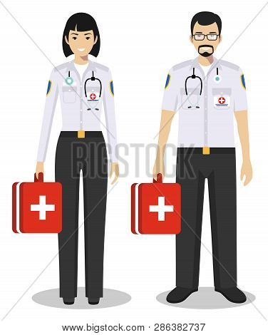 Medical Teamwork Concept. Detailed Illustration Couple Of Paramedic Man And Woman, Emergency Doctor,