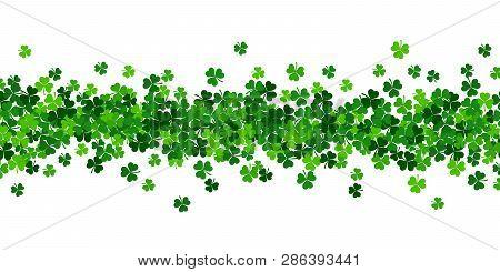 Vector Paper Green Shamrocks On White Background