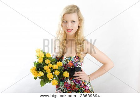 Pin-up women with flowers