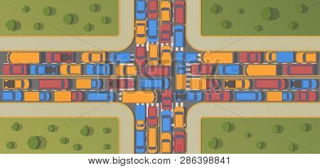 Traffic Jam On Crossroad. Large Congestion Of Cars. Top View Flat Illustration.