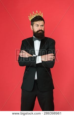 King Of Style. Man Groom In Wedding Suit. Big Boss Style. Formal Event. King Crown. Bearded Man In T