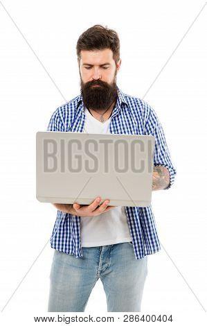 Freelance Work Online. Bearded Man Freelancer Work On Laptop. Man Freelancer With Laptop. Bearded Ma
