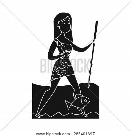 Isolated Object Of Woman And Neanderthal Symbol. Collection Of Woman And Fish Stock Symbol For Web.