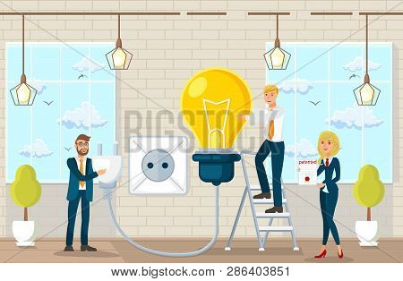 Flat Vector Illustration Making Suggestions And Ideas In Law Office. Joint Work Space In Law Office