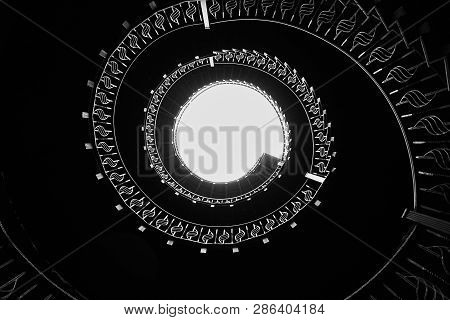 Spiral Staircase In Old Lighthouse, Interior Decoration Architecture