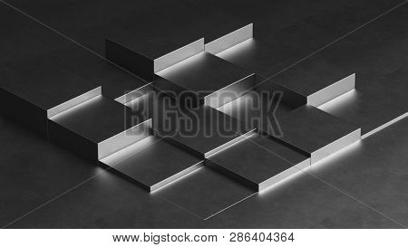 Metal cubes - geometric background - 3d rendering