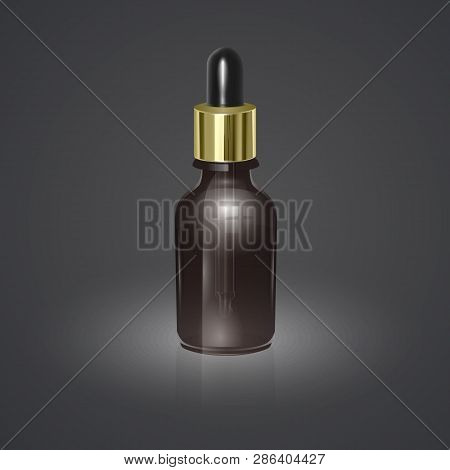 Vector Illustrations Of 3d Eucalyptus Essential Oil Bottles With Pipette. Realistic Eucalypti Contai