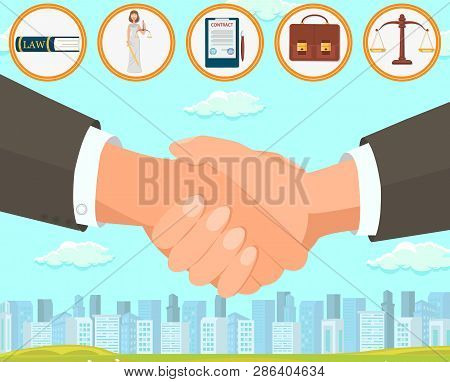 Flat Vector Illustration Deal And Drawing Up Contract. Foreground Is Large Handshake Two Men In Busi