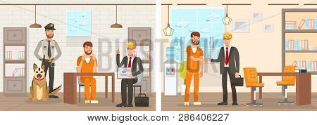 Flat Vector Illustration System Works Law Firm. Confinement Cell Man In An Orange Jumpsuit Is Sittin