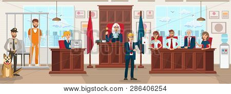 Horizontal Flat Vector Illustration Jury Trial. Lawyer in Blue Suit Against Background Jury Trial Shows Document Proving Convictions Innocence. Judge in Gown Raised Hand with Hammer. poster