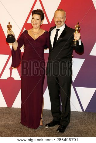 Nina Hartstone and John Warhurst at the 91st Annual Academy Awards - Press Room held at the Hollywood and Highland in Los Angeles, USA on February 24, 2019.