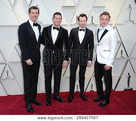 Gwilym Lee, Allen Leech, Joseph Mazzello and Ben Hardy at the 91st Annual Academy Awards held at the Hollywood and Highland in Los Angeles, USA on February 24, 2019.