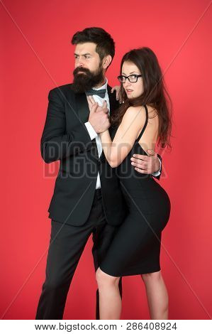 Bearded Man Wear Suit Girl Elegant Dress. Formal Dress Code. Visiting Event Or Ceremony. Couple Read