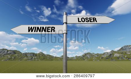 Way Choice Showing Strategy, Winner Loser,  3d Rendering