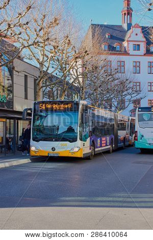 Mainz, Germany On Feb, 25 - 2019: Bus Stop: Hoefchen In Mainz City With Bus Line 54. A Bus Of The Mv