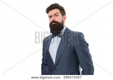Businessman or host fashionable outfit isolated white. Fashion concept. Classy style. Man bearded hipster wear classic suit outfit. Formal outfit. Take good care of suit. Elegancy and male style. poster