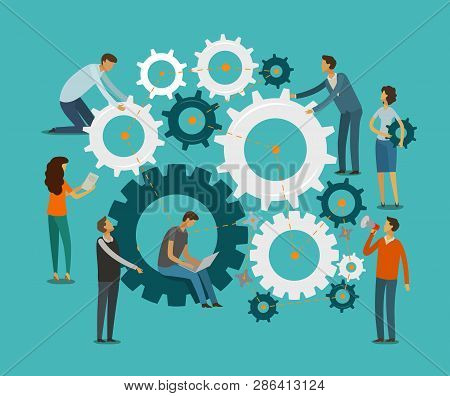 Team Work Concept. Business, Teamwork Infographics. Gears Vector Illustration