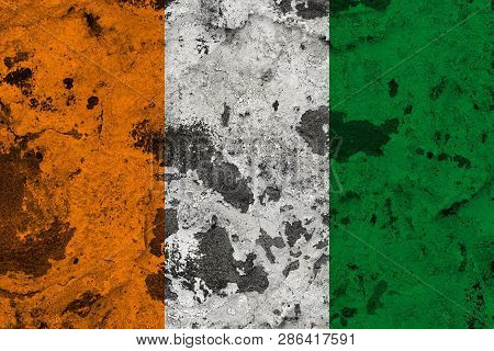 Cote D'ivoire - Ivory Coast Flag On Old Wall