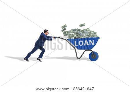 Businessman pushing wheelbarrow in debt loan concept