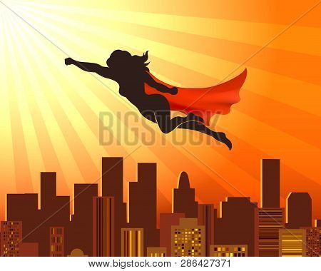 Flying Girl Superhero. Sup Hero Woman Silhouette Over City Roofs, Red Cape Vector Comic Super Girl J