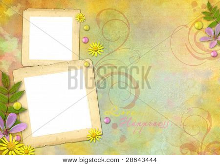 Photo Frames On The Abstract Pastel-colored Paper Background