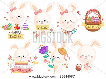 A Vector Set Of Various Cute Bunny And Eggs Celebrating Easter Day And Spring Time