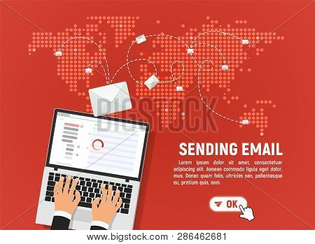 Sending And Receiving Email Vector Illustration. Send Mail Letters From Laptop To Anywhere In The Wo