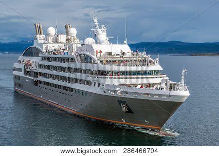 Ushuaia, Argentina -december 27, 2017: Passenger Cruise Ship Le Boreal Visiting The City Of Ushuaia