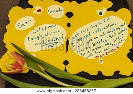 Greeting Card Happy Birthday Grandma Grandson To Grandmother Did It Manually