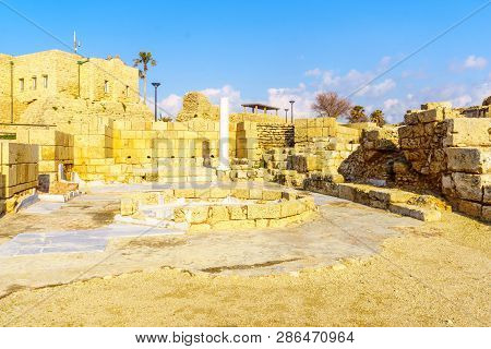 View of Roman bathhouse in Caesarea National Park, Northern Israel poster