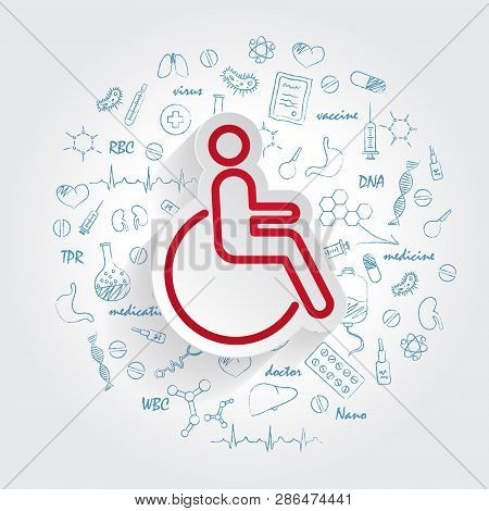Disabled Icon In Trendy Style Isolated On Handdrawn Healthcare Doodles Background. Disabled Icon Pag