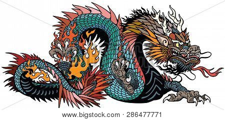 Azure Also Blue Green Chinese Dragon. Asian And Eastern Mythological Creature. Isolated Tattoo Style