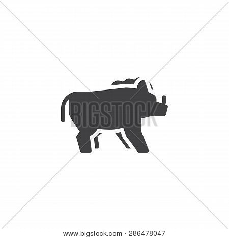 Wild boar side view vector icon. filled flat sign for mobile concept and web design. boar with tusks glyph icon. Forest animal symbol, logo illustration. Pixel perfect vector graphics poster