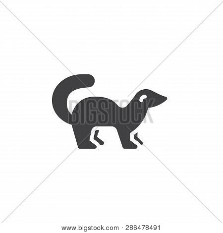Mink Side View Vector Icon. Filled Flat Sign For Mobile Concept And Web Design. Marten Standing Glyp