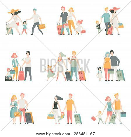 Family Travel Set, Father, Mother And Kids Characters Travelling Together, Happy Family Vector Illus