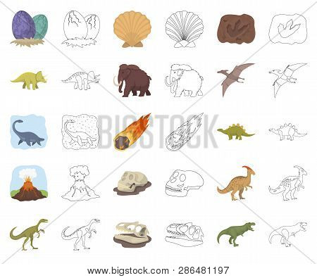 Different Dinosaurs Cartoon, Outline Icons In Set Collection For Design. Prehistoric Animal Vector S