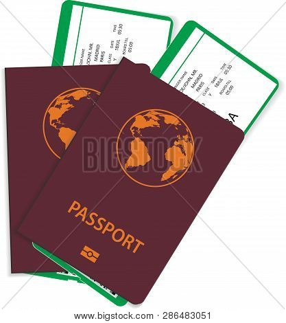 Passport And Airline Ticket Or Boarding Pass Illustration. Vector Passport With Airline Boarding Pas