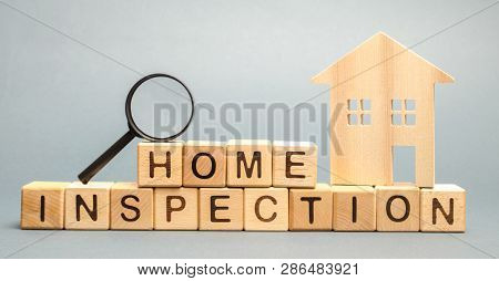 Wooden Blocks With The Word Home Inspection And The House. Resale Residential Property Condition. Th