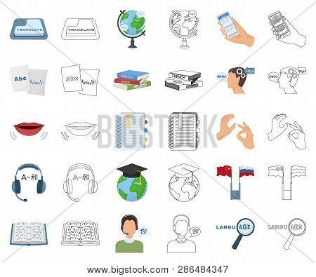 Translator and linguist cartoon, outline icons in set collection for design. Interpreter vector symbol stock web illustration. poster