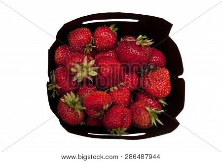 Top View Of Fresh Strawberries Isolated On White Background