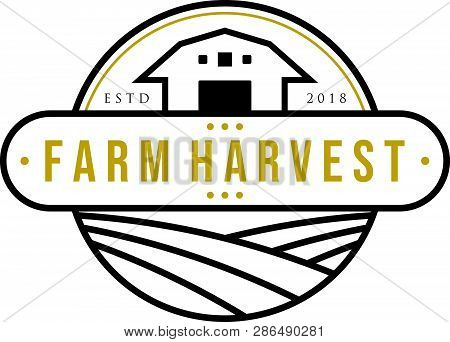 Farm House Concept Logo Template With Landscape Label For Natural Products