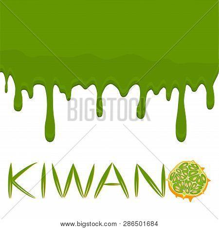 Illustration On Theme Falling Runny Kiwano Drip At Sugary Cow Milk. Kiwano Pattern Consisting Of Dri